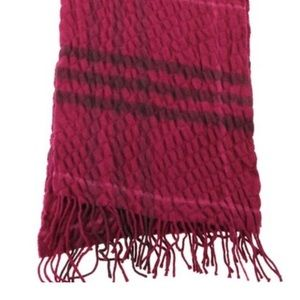 Burberry Pink Check Fringe Long Scarf/Wrap